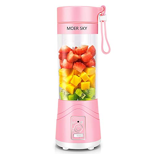 Portable Blender, Personal Smoothie Mini Juicer Cup, 380ml Fruit Mixing Machine, USB Rechargeable Juicer Cup, Detachable, Office/Sports/Trip(Pink)
